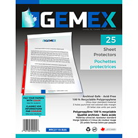Gemex Top-Loading Sheet Protectors, Standard Weight, Ultra-Clear/Red  Spines, Letter Size, 25/PK