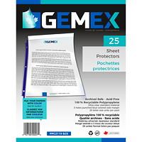 Pochettes protectrices en polypropylène à insertion par le haut Gemex, épaisseur standard, ultratransparent, bordure bleue, format lettre, emb. de 25