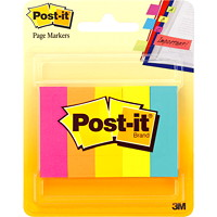 Post-it Page Markers, Assorted Neon Colours, 1/2