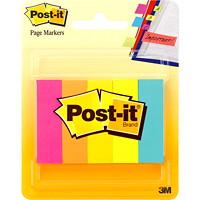 Signets Post-it, couleurs fluorescentes variées, 1/2po x 2po, blocs de 100 signets, emb. de 5