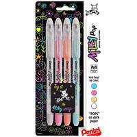 Stylos à encre gel Milky Pop Pentel, couleurs variées, pointe moyenne de 0,8mm, emb. de 4