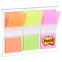 Languettes standard avec distributeur pratique Post-it, vert/orange/rose, 1po x 17/10po, 20 languettes de chaque couleur, emb. de 3 couleurs