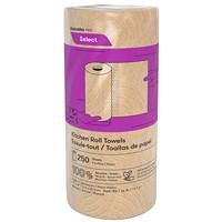 Rouleaux d'essuie-mains 2 épaisseurs Cascades PRO Select, naturel, 250 feuilles par rouleau, caisse de 12