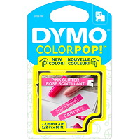 DYMO ColourPop D1 Tape, White Type/Pink Glitter Label, 12 mm x 3 m (1/2