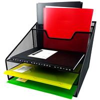 Winnable Mesh Desk Tray Sorter, Black