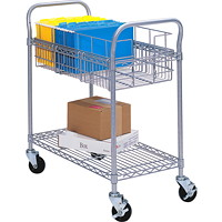 Safco Wire Mobile Mail Cart, Large, 36