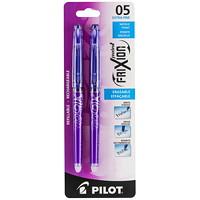 Pilot FriXion Needle Point Erasable Gel Pen, Purple, Extra Fine, 0.5 mm, 2/PK