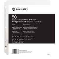 Grand & Toy Standard Weight Sheet Protectors, Clear, Letter Size, 50/PK