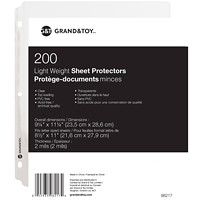 Grand & Toy Lightweight Sheet Protectors, Clear, Letter Size, 200/PK