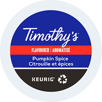 Timothy's Single-Serve Coffee K-Cup Pods, Pumpkin Spice Flavoured, 24/BX