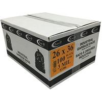 Sacs à ordures industriels Eco II, noir, 3mils, 26po x 36po, caisse de 100