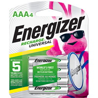 Piles rechargeables AAA NiMH Energizer Recharge Universal, emb. de 4 (UNH12BP4)