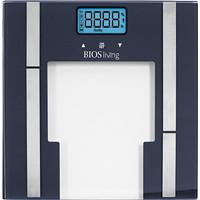 Pèse-personne analyseur de graisse corporelle en verre avec pile au lithium BIOS Living