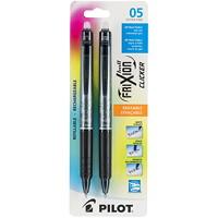 Pilot FriXion Clicker Retractable Erasable Gel Pens, Black, Extra-Fine 0.5 mm, 2/PK