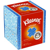 Kleenex 3-Ply Anti-Viral Cube Box Facial Tissue, White, 60 Sheets/BX