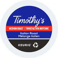 Timothy's Single-Serve Coffee K-Cup Pods, Italian Roast, 24/BX