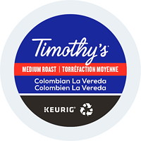 Timothy's Single-Serve Coffee K-Cup Pods, Colombian La Vereda, 24/BX