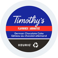 Timothy's Single-Serve Coffee K-Cup Pods, German Chocolate Cake Flavoured, 24/BX