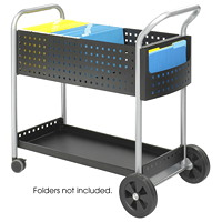 Safco Scoot Mobile Mailroom Cart, Black/Silver, 22 1/2