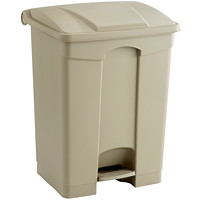 Safco Plastic Step-On Receptacle, Tan, 17-Gallon Capacity