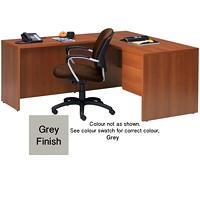 Bureau en L à caisson simple Genoa Global, gris, 60po x 30po x 29po