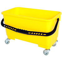 Globe Commercial Products Window Cleaning Bucket With Sediment Screen and Casters, Yellow, 18