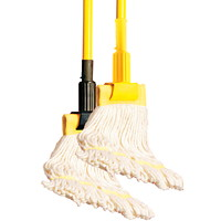 Globe Commercial Products Clamp-Style Mop Handle, Yellow, 60