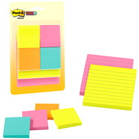 Post-It Super Sticky Notes Combo Pack, Assorted Colours, Lined/Unlined, 2