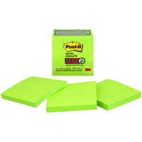Feuillets super collants Post-it, lime, 3 po x 3 po, blocs de 70 feuillets, emb. de 5