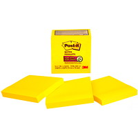 Feuillets super collants Post-it, jaune électrique, 3 po x 3 po, blocs de 70 feuillets, emb. de 5