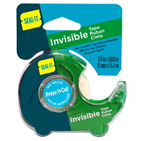 Seal-It Invisible Tape With Press 'N Cut Dispenser, Single Dispenser, 3/4