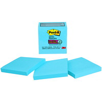Feuillets super collants Post-it, bleu électrique, 3 po x 3 po, blocs de 70 feuillets, emb. de 5