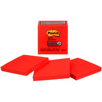 Feuillets super collants Post-it, rouge bonbon, 3 po x 3 po, blocs de 70 feuillets, emb. de 5