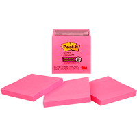Feuillets super collants Post-it, rose fluo, 3 po x 3 po, blocs de 70 feuillets, emb. de 5