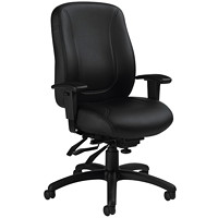 Offices To Go Marvel Overtime High-Back Tilter Chair, Black, Luxhide Leather