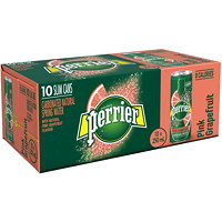Perrier Sparkling Water, Natural Pink Grapefruit Flavour, Slim Cans, 250 mL, 10/PK