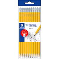 Crayons graphite en polymère prétaillés Staedtler, mine nº2HB, jaune, emb. de 10