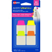 Avery UltraTabs Repositionable Mini Tabs, Assorted Neon Colours, 1