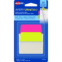 Avery UltraTabs Repositionable Big Tabs, Neon Pink/Green, 2