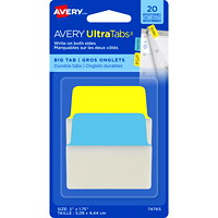 Avery UltraTabs Repositionable Big Tabs, Assorted Neon Blue/Yellow, 2