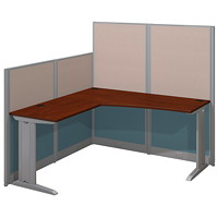 Bush Business Furniture Office-In-An-Hour L-Shaped Cubicle Workstation, Hansen Cherry
