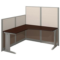 Bush Business Furniture Office-In-An-Hour L-Shaped Cubicle Workstation, Mocha Cherry