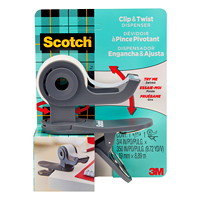 Scotch Clip and Twist Tape Dispenser, Dark Grey