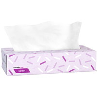 Cascades PRO Select 2-Ply Flat Box Facial Tissues, White, 100 Sheets/Box, 30 Boxes/CS