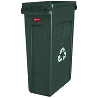 Rubbermaid Slim Jim Vented Container, Green, 23-Gallon Capacity