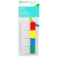 Languettes autoadhésives inscriptibles Grand & Toy, couleurs primaires, 1po, emb. de 4