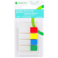 Grand & Toy Self-Stick Writable Flags, Primary Colours, 1/2