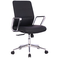 TygerClaw Executive Office Chair, Mid-Back, Black, PU Leather