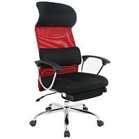Fauteuil de bureau ergonomique avec appui-t?™te TygerClaw, dossier haut, tissu maillé, noir et rouge