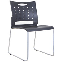 TygerClaw Stacking Chair, Mid-Back, Black, Plastic - Set of 4